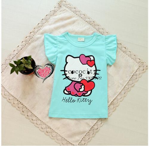 Free Shipping 2014 New Baby Girls Hello Kitty Tshirt Children Kt Short Sleeve 100%Cotton T-shirt Kids Summer Clothes(China (Mainland))