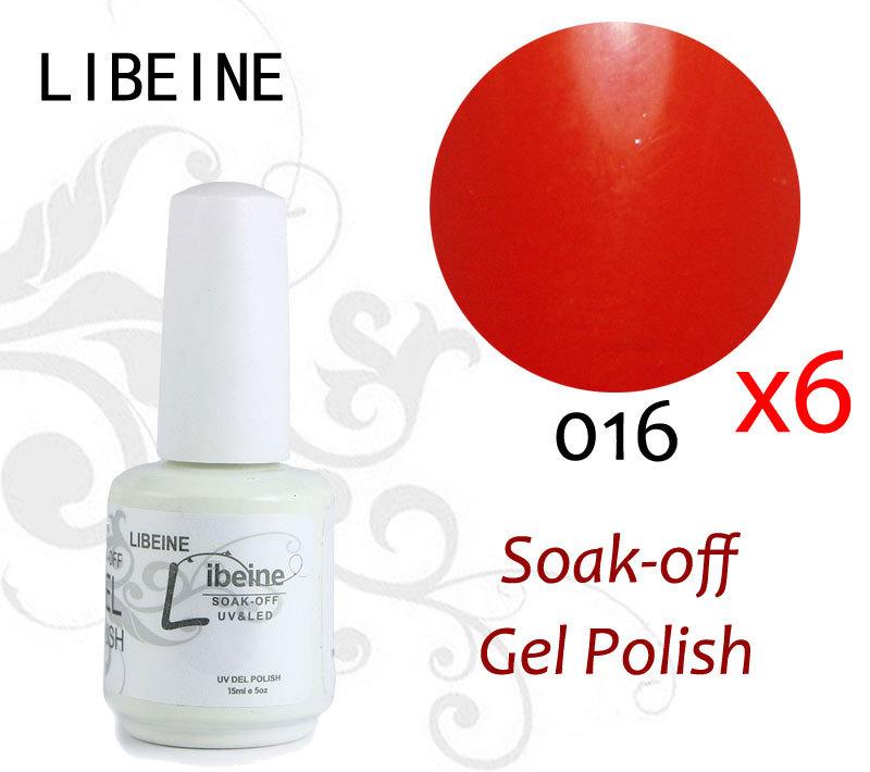 Free Shipping Libeine 100 Colors Choose 6 colors #016 Fiery Red 15ml UV Gel Nail Art Soak Off Gel Polish(China (Mainland))