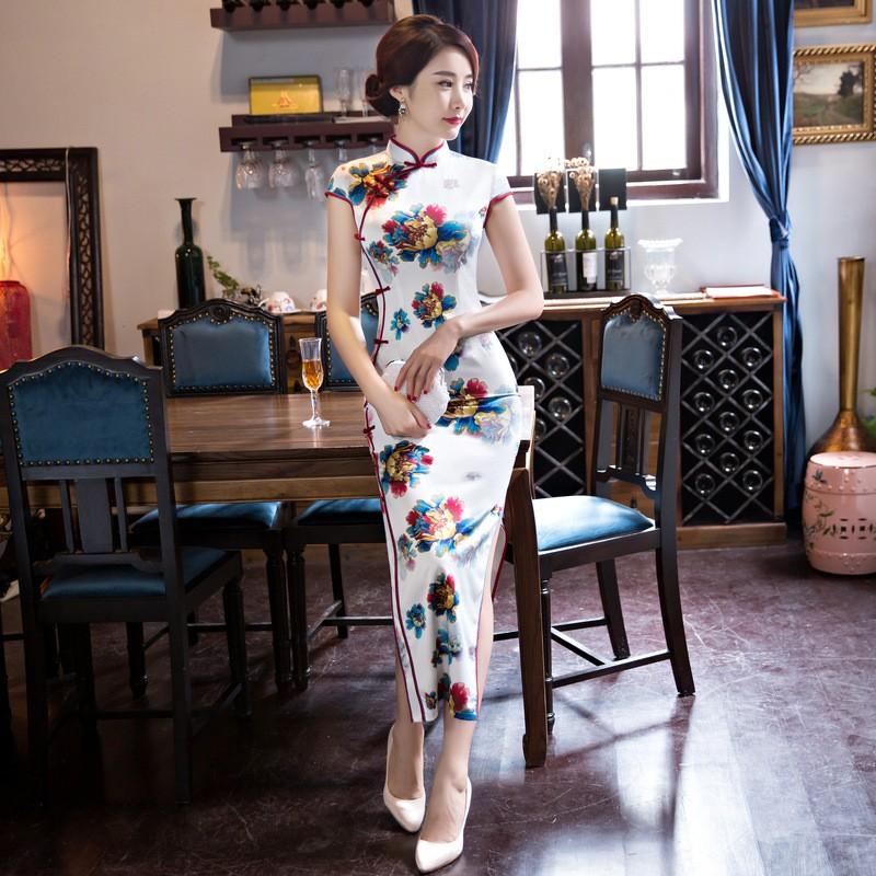 มาใหม่สตรีผ้าไหมยาวCheongsamจีนแฟชั่นสไตล์การแต่งกายที่สวยงามบางQipaoรสเสื้อผ้าขนาดSml XL XXL F072605 ถูก