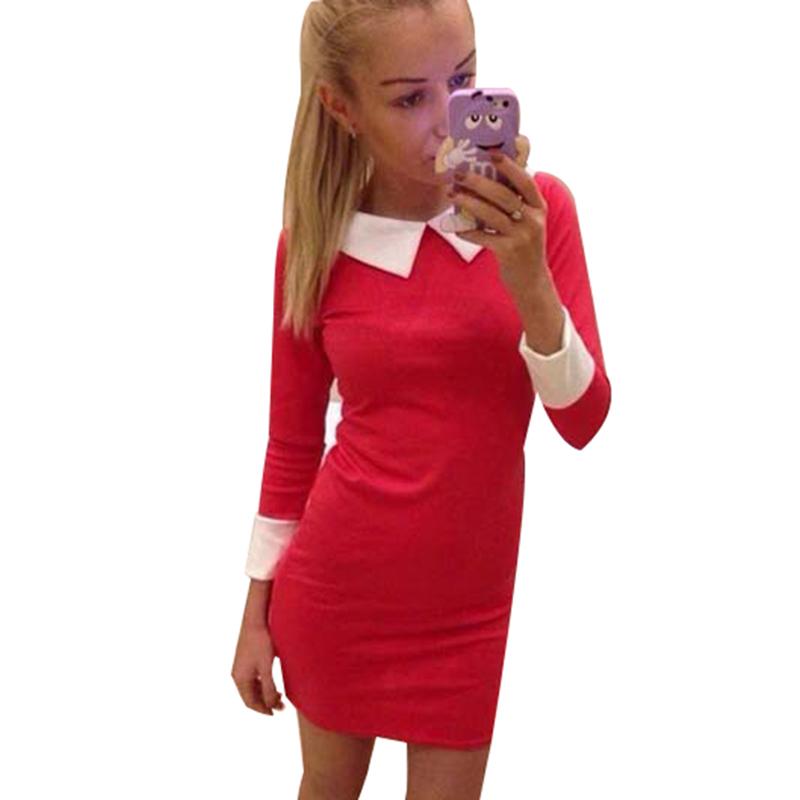 women dress 2015 fashion women clothing turn down collar Slim casual dress elegant blue dress feminine