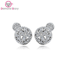 Teemi Brand 2016 New Design Fashion Jewelry Double Side Stud Earrings for Women Shiing CZ Ball Elegant Brincos Free Shipping