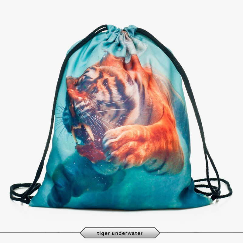 2016 new arrival backpacks with tiger print women's shopping bags outdoor picnic Drawstring Pouch wholesale(China (Mainland))