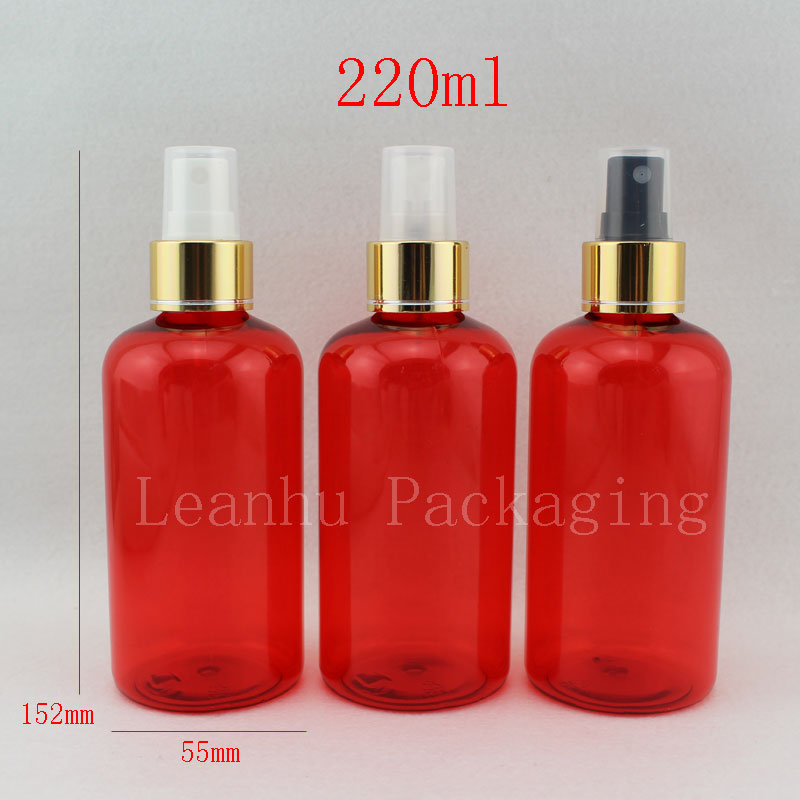 220ml round red empty perfume cosmetic plastic bottle with gold pump spray, 220cc fine mist spay bottles with pump colored tin(China (Mainland))