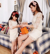 Family Fashion Lace Dress for Mother and Daughter Girls & Women Princess Dress Fashion Family FLQ05