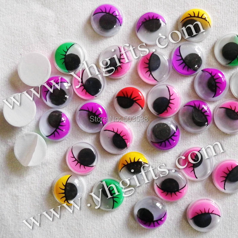100PCS/LOT,15mm 5 colorful eyelash eyeball stickers,Plastic wiggle eyes,Doll eyes.Doll Accessories.Crafts material.onstock,OEM(China (Mainland))