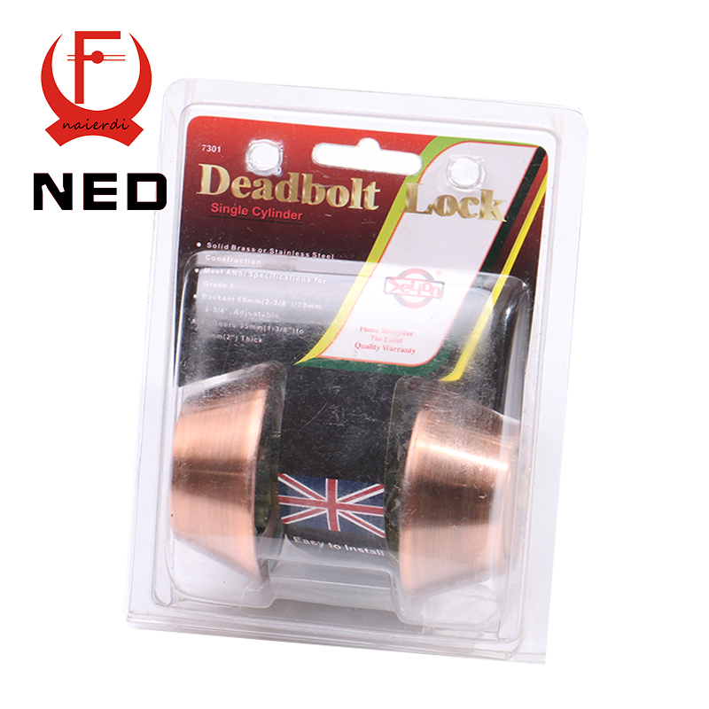 NED Red Bronze Double Cylinder Deadbolt Lock High Security Solid Brass SS Handle Lock For Home Door Suitable For 35mm to 50mm<br><br>Aliexpress