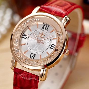 Ladies Fashion Quartz Watch Women Rhinestone Leather Casual Dress Watches Rose Gold Crystal relojes mujer 2016 montre femme