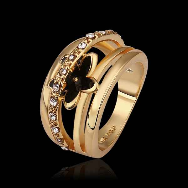 New Sale 18k gold plated wedding rings insets black flower men ring bone SMTPR538(China (Mainland))
