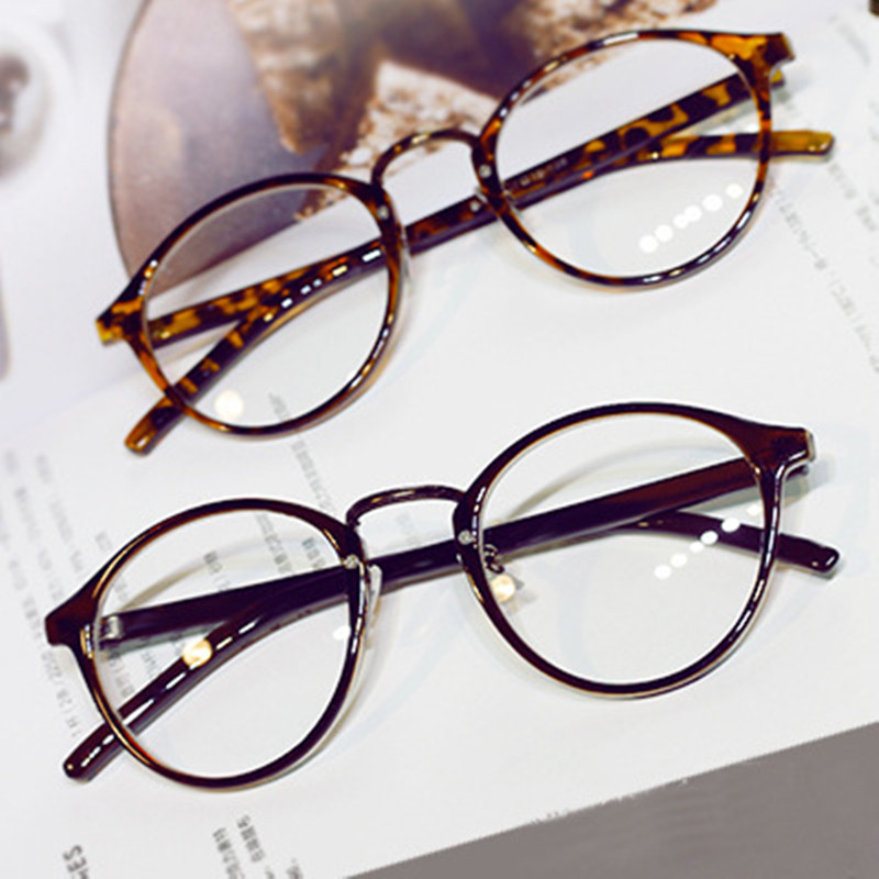 round eyes glasses frame men women brand retro ultra light vintage myopia eyeglasses frame plain lens