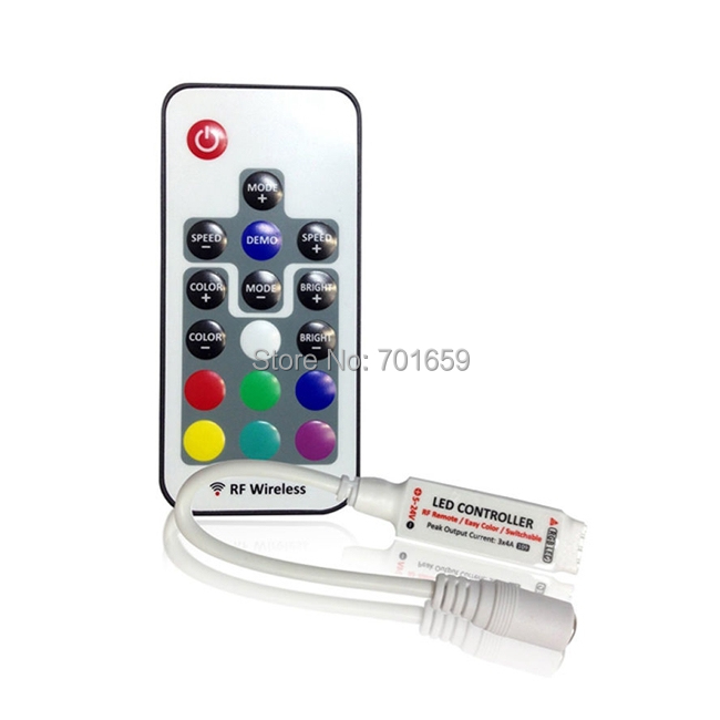 10pcs/lot 17key mini RF wireless led RGB remote Controller with 4pin female DC for RGB LED Strip Lights(China (Mainland))