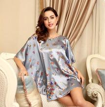 emulation silk big size T shirt large size women short bat dress beautiful sleepwear for pregnant(China (Mainland))