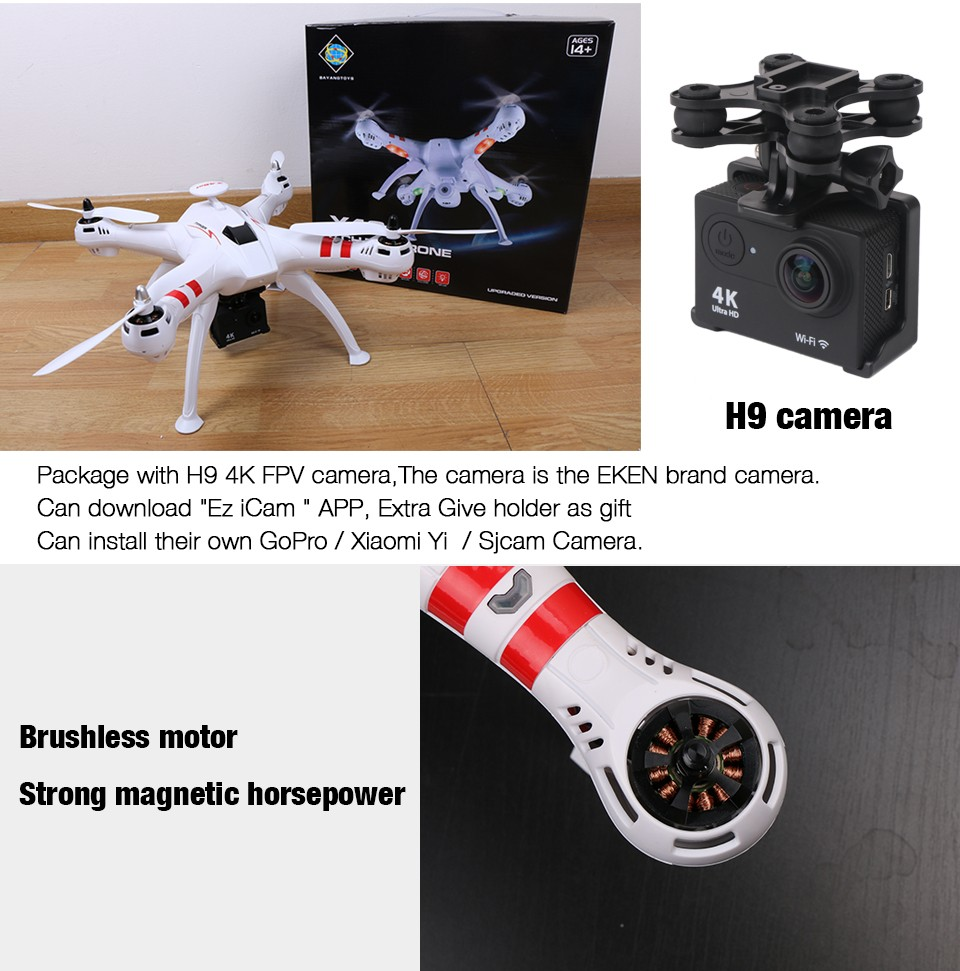 NEW Bayang X16 Brushless FPV Drone Headless Mode 300M Distance With 2MP Wifi Camera Or 14MP HD Camera Rc Quadcopter VS MJX X102H