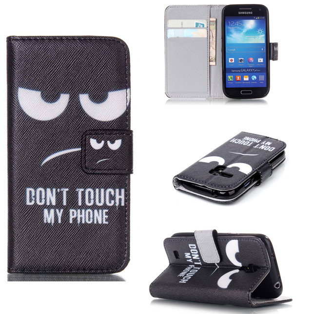 For Samsung Galaxy S3 S4 S3mini S4mini Stylish Angry Eyes Patterned Wallet Flip PU Leather Case Cover For Samung Samrt Phones(China (Mainland))