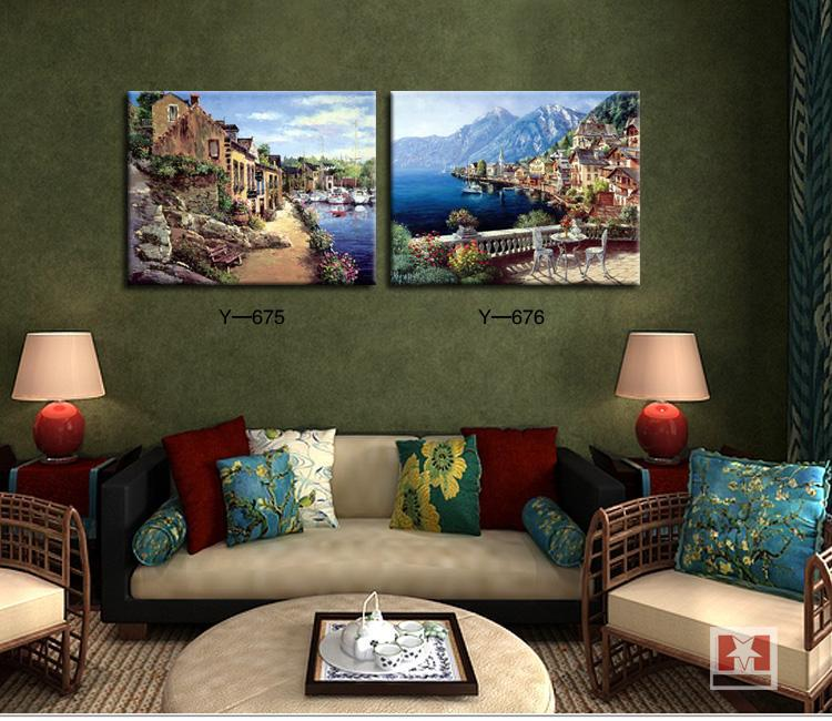 Mediterranean landscape painting for home decorative picture pastoral village style two panels free shipping(China (Mainland))