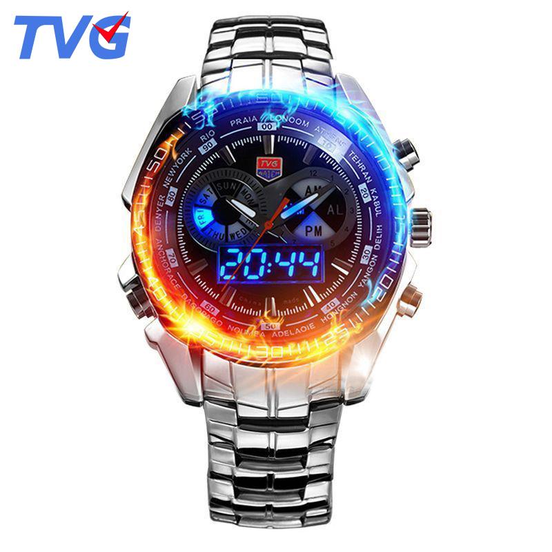 TVG Luxury Military Watch Men waterproof Mens Quartz Analog LED digital wrist watch stainless steel strap relogio masculino(China (Mainland))