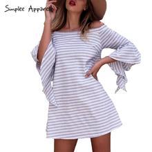 Simplee Apparel off shoulder ruffles striped summer dress women fashion flare sleeve beach dress Hollow out short dress vestidos(China (Mainland))
