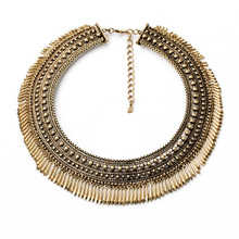 Shi Jie Designer Women Jewelry 2014 Resin Glass Zinc Alloy Antique Gold Plated Vintage Wide Chain Egyptian Chunky Necklace