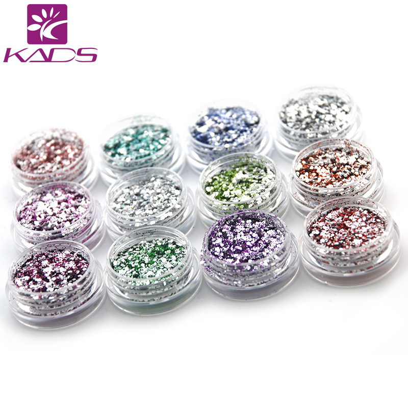 12pot set fashion gloss silver glitter dust nail for Acrylic nail decoration supplies