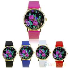 Women s Rose Flower Dial Faux Leather Strap Quartz Analog Casual Wrist Watch 01LB 48M5