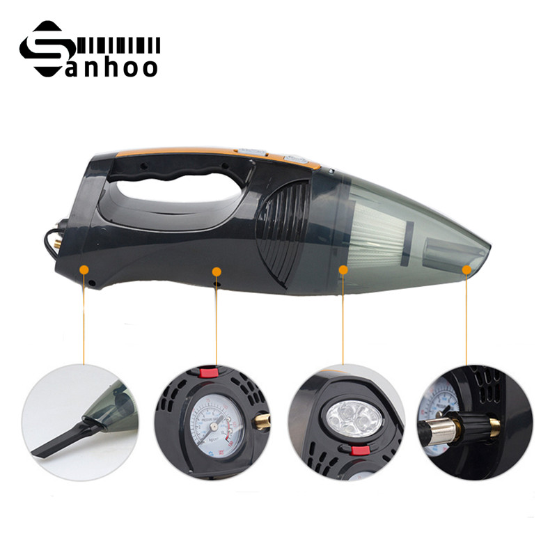 2016 New Super Multi function Car Cleaning Tool 12V 100W Vacuum Car Cleaner With Light and Inflation Function(China (Mainland))