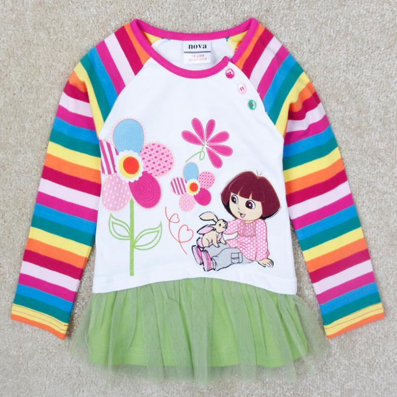 dora Girl t shirt children spring/autumn long sleeves clothes with lovely girl and flower printed children cotton clothes enfant(China (Mainland))