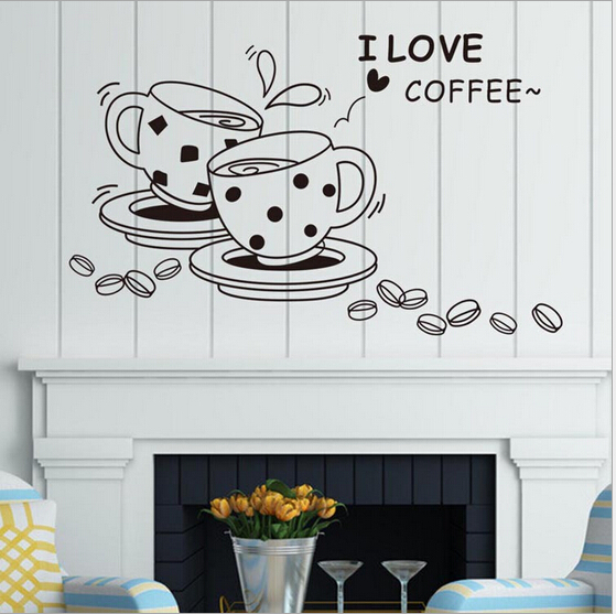 DIY Removable I Love Coffee Kitchen Wall Stickers Dining Room Waterproof Decals Wallpaper Poster Home Art Decor Accessories(China (Mainland))
