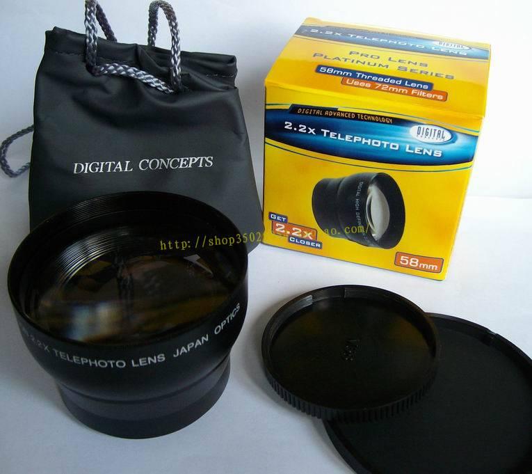 2.2x 58mm TELE Telephoto LENS Magnification for 58 mm canon nikon DSLR/SLR Digital Camera(China (Mainland))