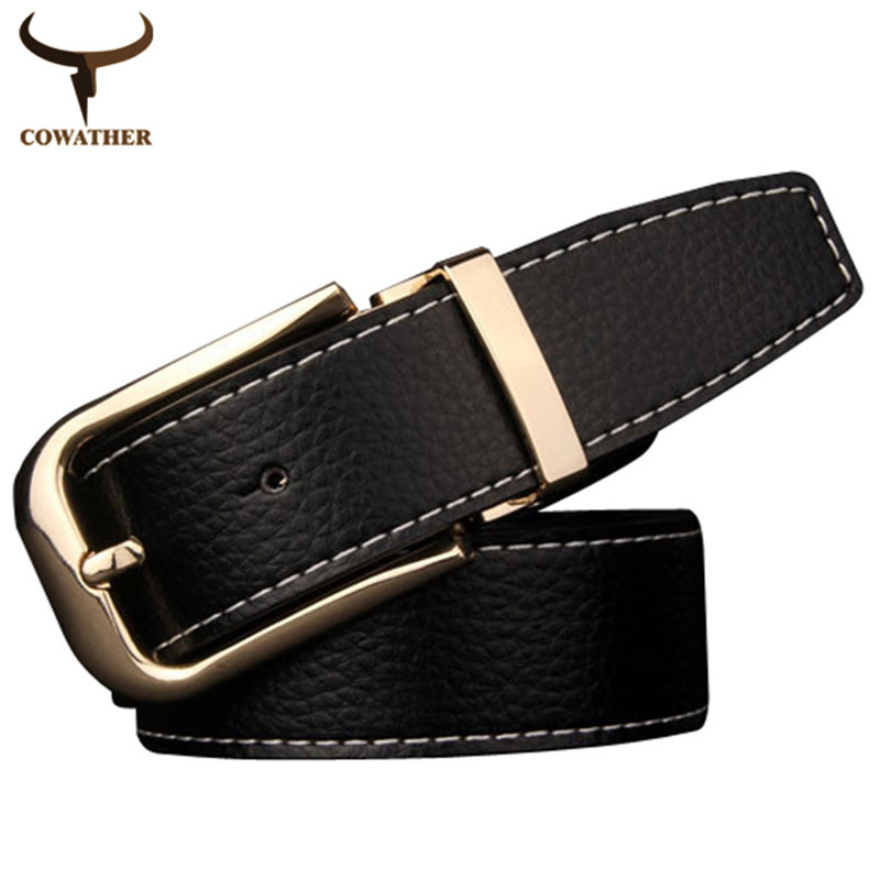 [COWATHER]Fahion 2016 cow genuine leather belt for men pin buckles high quality special design nice choices top free shipping(China (Mainland))