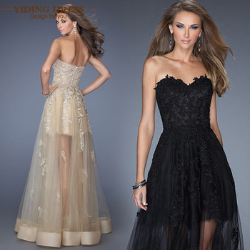 Black Champagne Off Sshoulder Appliques Lace Prom Dresses 2015 Sweetheart Fashion Party Evening Dress