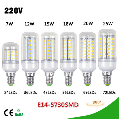 1Pcs New updated 7W 12W 15W 18W 20W 25W E14 LED lamp SMD 5730 220V Chandelier Bulb Spotlight 24 36 48 56 69 72 LEDs Candle light(China (Mainland))
