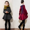 2016 New Autumn Winter Bow Girls Princess Dress Cute Children Clothing Long Sleeve Velvet Cotton Dresses