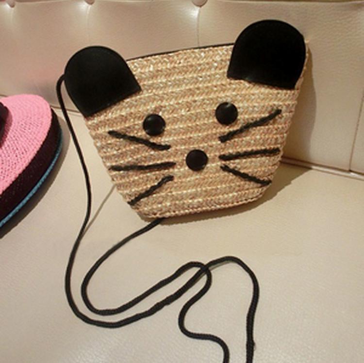 2015 new free shipping casual all-match cat pattem small bags women's handbag shoulder bag messenger bag mini beach bags C1661(China (Mainland))