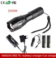 4000lm CREE T6 zoom flashlight torch LED Cycling Bike Bicycle Front Head Light 18650 4000MAH battery