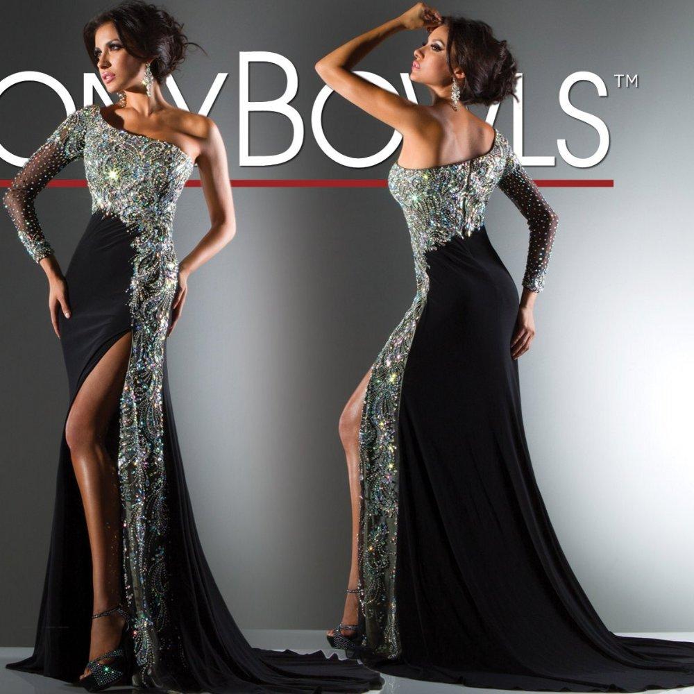Black One Shoulder Long Sleeve Dress
