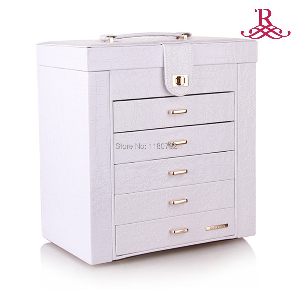 [ROWLING]Extra Large Beads Rings Bracelets Necklace Storage Jewelry Box Armoire Faux Leather ZG231001WHITE(China (Mainland))