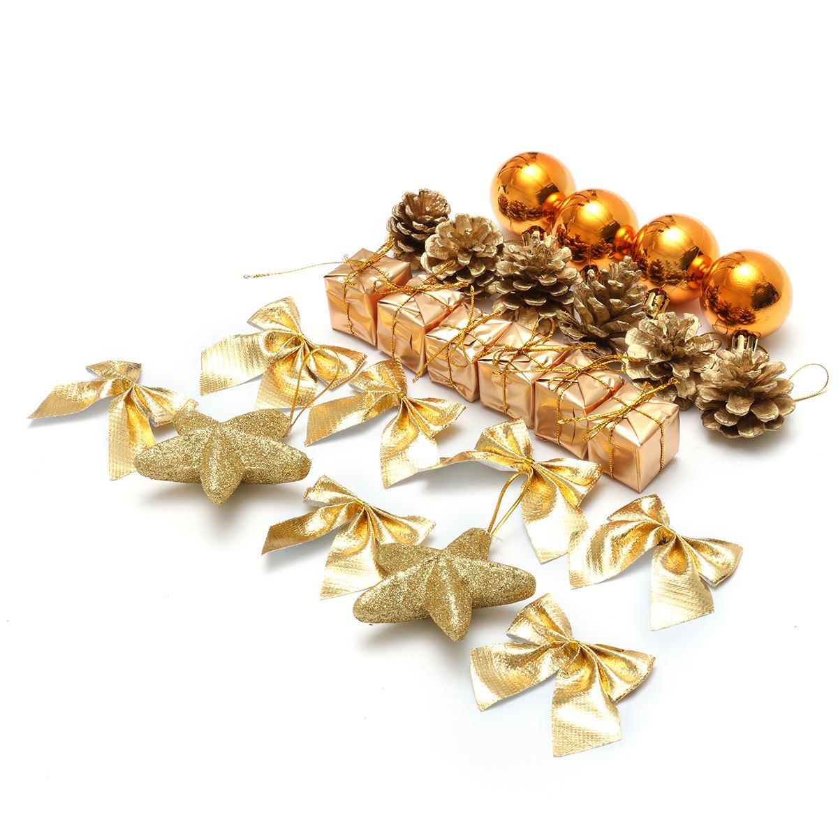 24 pcs/Pack Christmas Ornament Mini Gift Box Stars Ball Pinecone Baubles Christmas Tree Pendant Xmas Ornaments Decorations(China (Mainland))