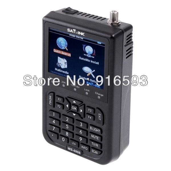Free shipping!! Original Satlink WS-6908 3.5 LCD DVB-S FTA Digital Satellite Signal ws 6908 satellite Finder Meter(China (Mainland))