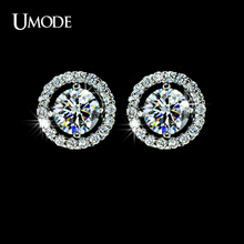 UMODE Hearts & Arrows cut Top Quality 0.75 carat AAA+ CZ Diamond Stud Earring UE0012(China (Mainland))