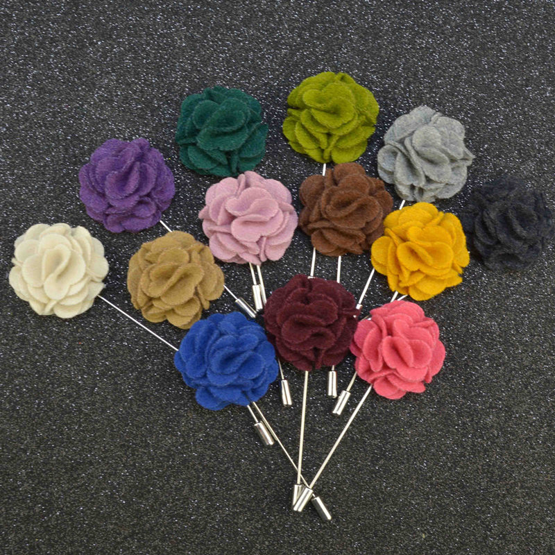 2016 New Arrival Candy Colors Cloth Flower Fashion Brooches Long Pin Cheap for Suit Manual Brooch for Male or Female Dress Gift(China (Mainland))