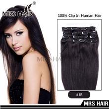 "Virgin Clip In Human Hair 7pcs/set Real Brazilian Clip On Set 14"" 16"" 18"" 20"" Remy Clip Hair Extensions Natural Black Hair 1B#(China (Mainland))"