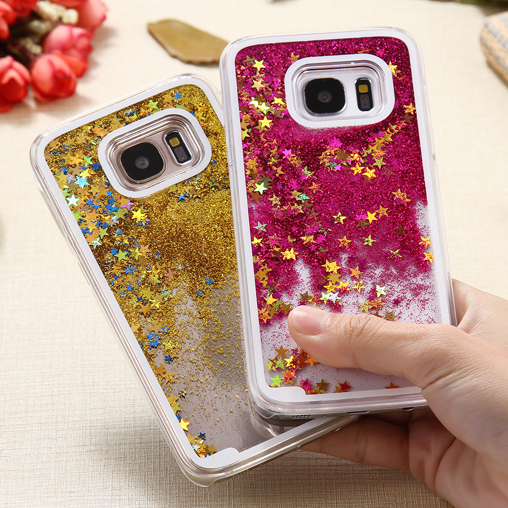 179a92c4d386 FOR SAMSUNG GALAXY S7  S7 EDGE LUXURY GLITTER QUICKSAND CASE HARD PC MOVING  STAR CUTE CRYSTAL CLEAR BACK COVER FOR GALAXY S7-IN PHONE BAGS   CASES FROM  ...