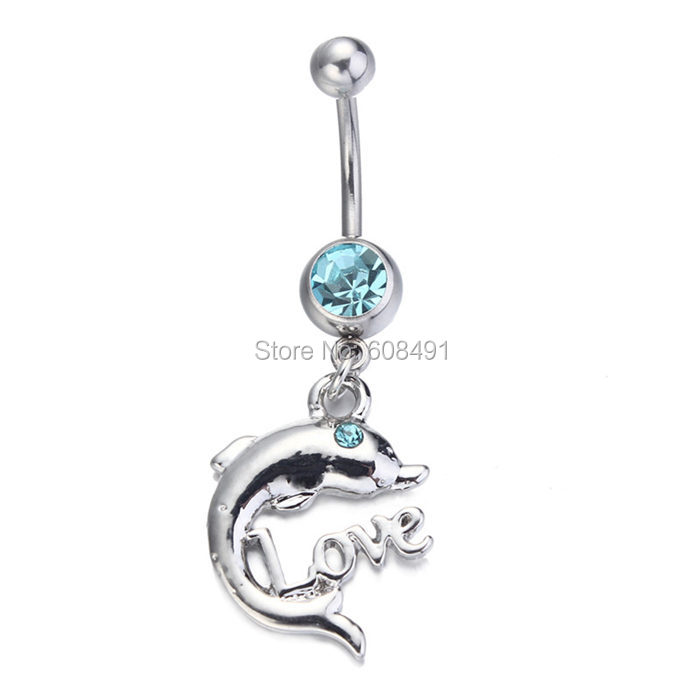 Cute dolphin navel bar belly jewelry 10pcs body jewelry for Belly button jewelry store