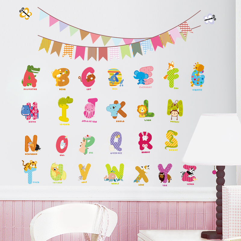 2016 Animal characters letters wall sticker Flag Nursery