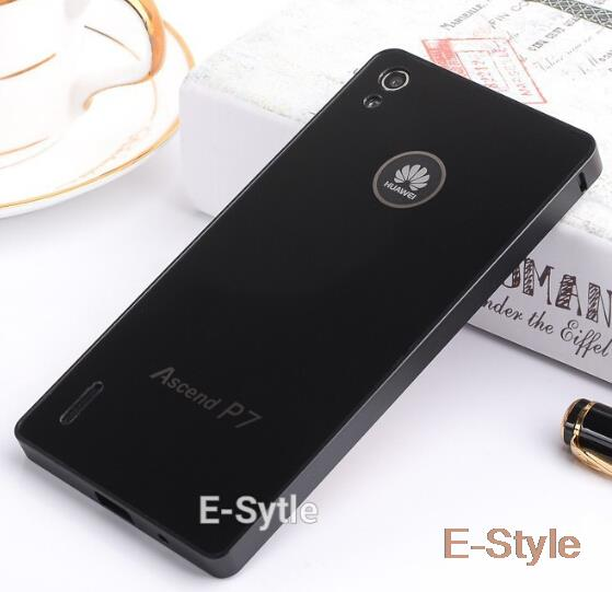 Huawei P7 Luxury Slim Acrylic Back Cover + Aluminum Metal Bumper Case Set For Huawei Ascend P7(China (Mainland))