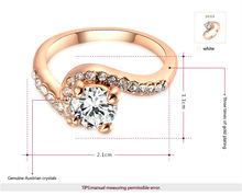 ROXI new arrival rose gold plated simple ring set with AAA Australia Crystal romantic fashion wedding