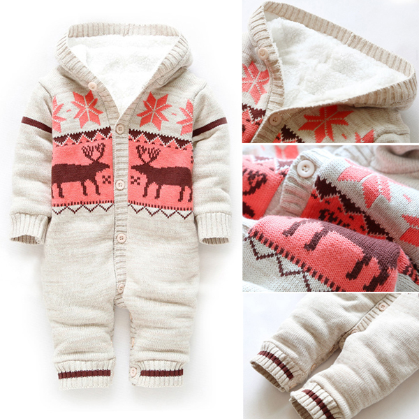 Hot Sale Baby Romper 2015 New Arrive Winter Soft Unisex Christmas Deer Thicken Hooded Warm Clothing Roupas De Bebe 0152(China (Mainland))