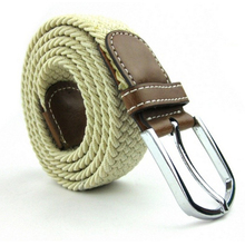 2015 New Fashion Unisex Casual Knitted Belt Men Woven Canvas Elastic Stretch Belt Pin Buckle Belt for Men Women 1pcs