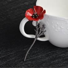 Trendi Merah Poppy Bunga Bunga Branch Bros Jarum untuk Wanita Pernikahan Perhiasan Logam Daun Bros Mujer Jarum Enamel Gesper X1003(China)