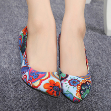 Fashion Women Multi Coloured Floral Print Pumps 2016 new arrival spring autumn red bottoms pointed feminine