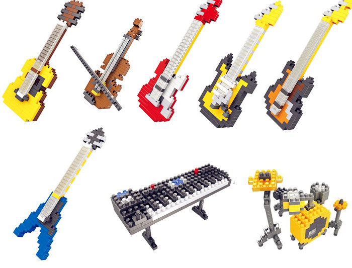 HSANHE DIY Diamond Building Blocks Mini Action Figure musical instrument guitar Drum Set plastic educational toy(China (Mainland))